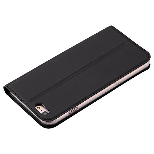 JIALUN-Telefon Fall Solid Color Synthetik Leder Telefon Fall, Magnetische Verschluss Bookstyle Folio Stand Case mit Card Slot für iPhone 6 Plus & 6s Plus ( Color : Rosegold ) Black