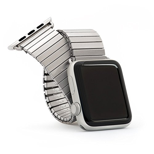 Twist-O-Flex Brushed Stainless Steel Expansion Band for the 38mm Apple Watch - Made by Speidel