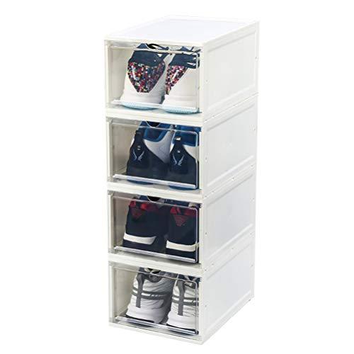 LHY SAVE Schuhbox 4-TLG Clear Plastik Schuhkasten Lagerkasten Boxen Stapelbar Schuhaufbewahrung Für Damen,Männers,Sportschuhe, Laufschuhe, Basketballschuhe