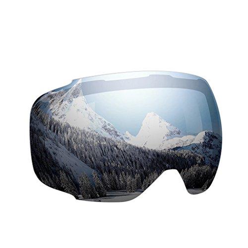 Enkeeo - Lentes Desmontable para gafas de esquí, con 100% UV400 protección para esquiar, Snowboard Patinaje sobre nieve y los Deportes de invierno (Lentes de Plateado)