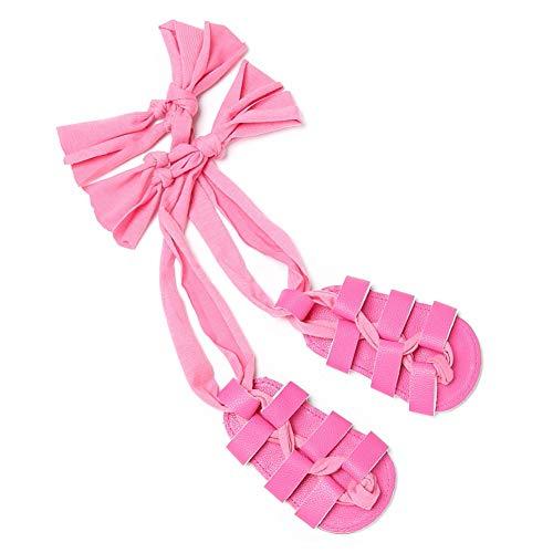 3 Tie Lace Up Schuh (strimusimak Cross Tie Lace Up Prewalker römischen Sandalen Volltonfarbe Babyschuhe Kleinkind Mädchen Geschenk Rose 0-6 Months)
