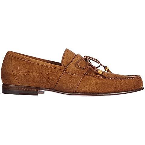Gucci mocasines en ante hombres nuevo queen nappato marrón