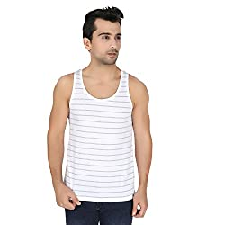 Undercolors Mens Cotton Vest (LM70I_Medium_White and Grey)