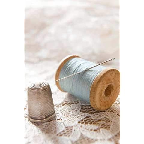 Vintage Spool of Blue Thread and a Silver Thimble Sewing Journal: 150 Page Lined Notebook/Diary