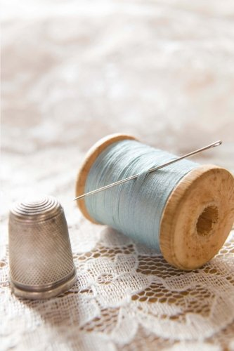 Vintage Spool of Blue Thread and a Silver Thimble Sewing Journal