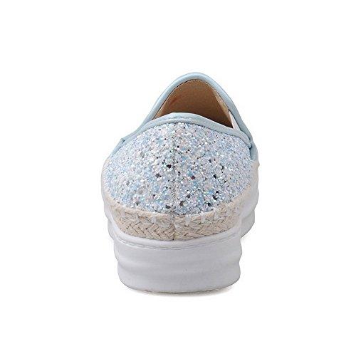 VogueZone009 Femme Matière Souple Tire Rond à Talon Correct Couleur Unie Chaussures Légeres Bleu