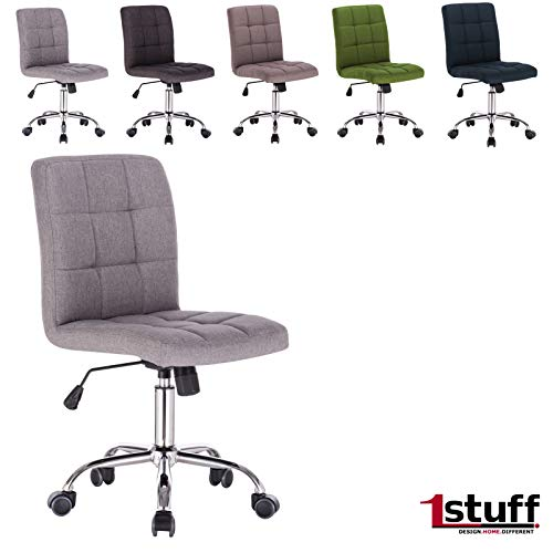 1stuff® Schreibtischstuhl Popart - schmale Bauweise - Wippfunktion - Schreibtischstuhl Drehstuhl - auch für Kinder, Mädchen, Jungen, Jugend (Stoff hellgrau)