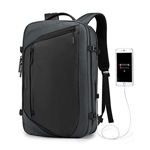 Wind Took 15.6 Zoll Laptoptasche 3 in 1 Laptop Rucksack Arbeitstasche Aktentasche Umhängetasche Tragetasche Herren Schulrucksack für Business Schule Uni, Grau -