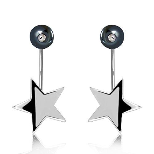 sistrakno Sterling Silber 925Star Hälfte Hoop Post Rückseite mit Synthetik schwarz 6mm Kugel Perle Ohrstecker (Silber Hoop-post-ohrringe)