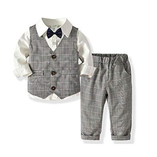 SANMIO 3tlg Baby-Jungen Bekleidungssets Strampler Taufkleidung Set Hemd + Hose + Weste + Fliege Krawatte Anzug für Baby Geburtstag -