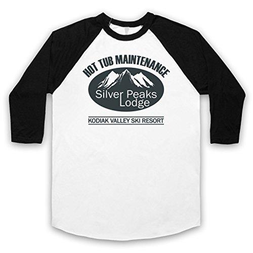Inspiriert durch Hot Tub Time Machine Silver Peaks Lodge Unofficial 3/4 Hulse Retro Baseball T-Shirt Weis & Schwarz