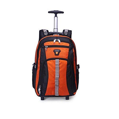 Schultern Ruten Tasche Ultraleicht Vielseitig Koffer Laptop Rucksack Genehmigt für Ryanair, Easyjet, British Airways, Virgin Atlantic mit 2 Leises Rad orange