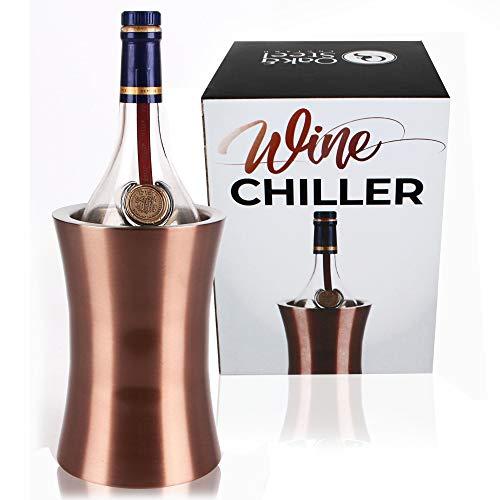 Oak & Steel Premium Edelstahl Weinkühler, Rose-Gold - Doppelwandiger Flaschenkühler, Flaschenhalter - Stilvoll & Elegantes Weinkuehler - Kein EIS Benötigt! Barzubehör