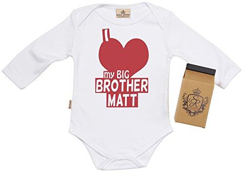 Big-brother-baby-strampelanzug (SR - Milchtüte Geschenkbox - Individualisierter I Love My Big Brother Baby-Strampler - Strampelanzug - Individualisierter Baby Geschenkset, Weiß - Neugeborenen)