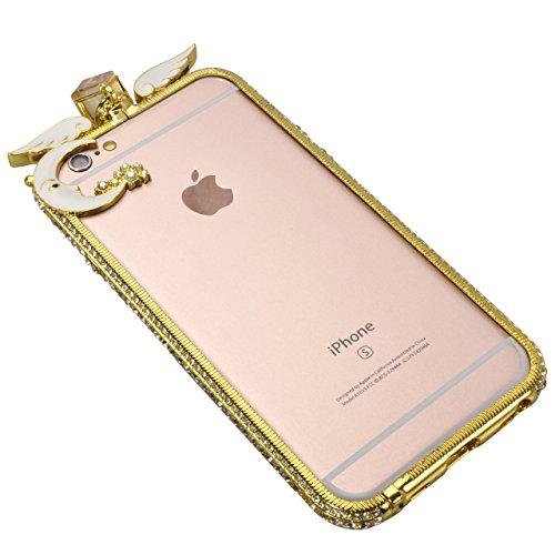 Glitter Étui Housse pour iPhone 7 / iPhone 8 (4.7 pouces) + [Support d'Anneau], Bonice Cristal Clair Miroir Cas Case avec 360 Degrés Rotation Bague, Luxe Bling Sparkle Strass Souple Soft Gel TPU Caout G - Or