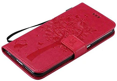 Apple iPhone 6Plus/6S Plus Custodia in pelle Flip Wallet Cover Case, Nnopbeclik Folio PU Leather Lusso Colorato Fiore Custodia Case Cellulare imprinting Albero del Gatto del fiore della farfalla cris Rosa