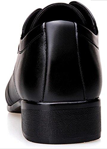 NSPX I pattini di cuoio di affari di hanno indicato i pattini casuali britannici sulle scarpe da uomo del banchetto dell'abito di cerimonia nuziale con le scarpe di cuoio , 38 , black 42-BLACK