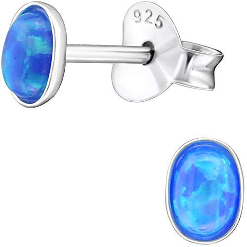 EYS JEWELRY Damen-Ohrstecker oval 925 Sterling Silber synthetischer Opal blau 3 x 4 mm Damen-Ohrringe im Schmuck-Etui