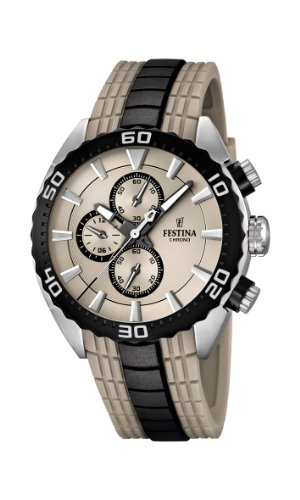 Festina LA Vuelta/Giro Collection 2013 Men's Quartz Watch with Beige Dial Chronograph Display and Beige PU Strap F16664/2