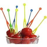 wicemoon desechable tenedores de frutas de plástico palillos de cóctel de incienso para alimentos Pick Party platos de suministros de púas tenedores de postre tenedores de mesa (multicolour-300pcs)