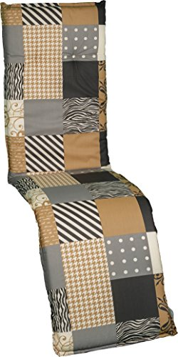 Gartenstuhlauflage Polster für Relaxstühle kariert gemustert grau schwarz beige
