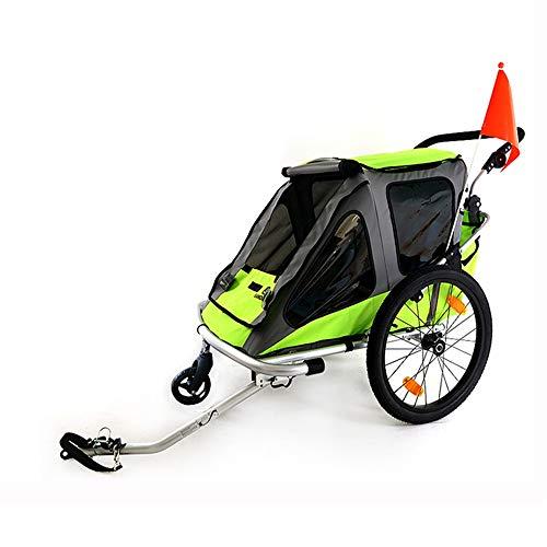 Wanlianer-Sports 3-in-1 Double 2-Sitzfahrrad-Fahrrad-Anhänger Jogger Kinderwagen for Kinder Kinder Faltbare zusammenklappbare W/Pivot Vorderrad (Farbe, Größe : Free Size) -