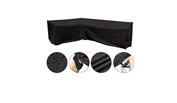 Anti-Fade,Black Heavy Duty 210D Oxford Fabric Waterproof Protective Cover,left L-shaped Corner Sofa Waterproof Dust Cover QueenHome Garden Furniture Set Cover For Outdoor Patio Table And Chairs