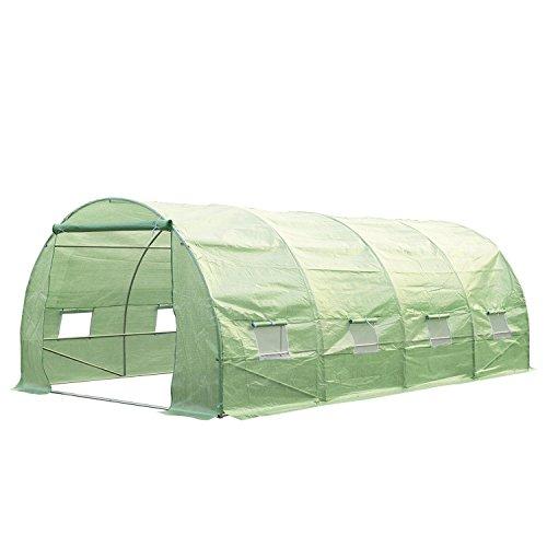 Outsunny serra per piante a tunnel da esterno in acciaio e pe con 8 finestre 6 x 3 x 2m verde