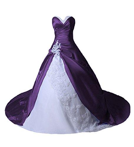 O.D.W Damen Spitze Lange Gotisch Hochzeitskleider Mehrfarbig Vintage Brautkleider(Weisse+Violett,...