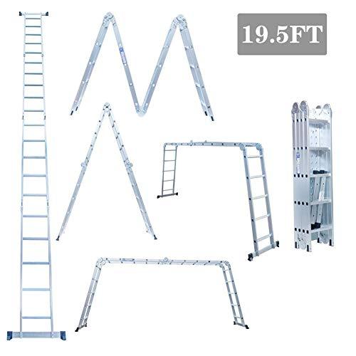 Ladders Escalera Plegable de Aluminio Gaint 5,8 m, Extra Grande, 4 peldaños x 5 Pasos, Escalera de andamio Multiusos, 150 kg/330 lbs