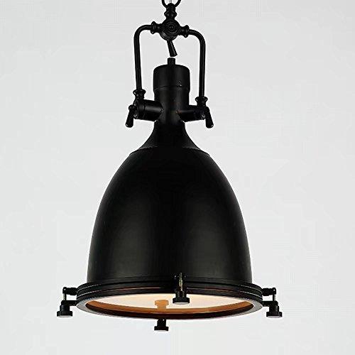 Industrial Deckenleuchte höhenverstellbar Antique ONE Lampe Pendelleuchte mit mattiertem Glas Diffusor(Schwarz)