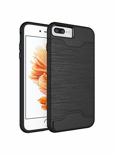 iPhone 7Handy Fall 11,9cm (2016) caserbay Dual Layer Kreditkarte Slot Pocket Ständer Slim Fit Brushed Metall Design Armor Rugged Heavy Duty Case Cover, Black for iPhone 7 4.7