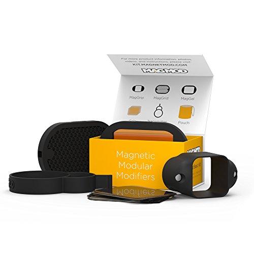 MagMod Basic Kit Magnet-Lichtformer für Aufsteckblitze - inkl. MagGrip Halterung, MagGrid Wabe, MagGel Filterhalter und Filtern