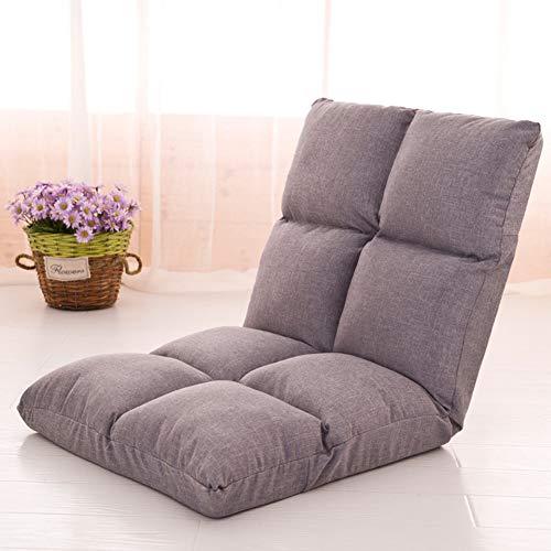 PLLXY Boden Klappbar Sofa Sessel Verstellbar 10-ungültige Anforderung,Tatami Sitzsack Atmungsaktive,bodenstuhl Gesteppter Couch Liege Gepolsterte Rückenstütze-Gray-b