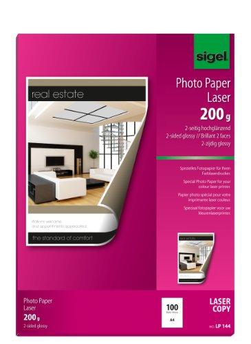 Sigel LP144 Fotopapier für Laser/Kopierer, A4, 100 Blatt, 2seitig glossy, hochweiß, beidseitig bedruckbar, 200 g - weitere Grammaturen