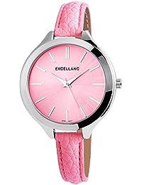 Mujer Reloj De La Marca EXCELLANC llanc, piel imitación pulsera en color rosa, hebilla, Quartz