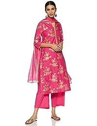 BIBA Women's Synthetic Straight Salwar Suit Set