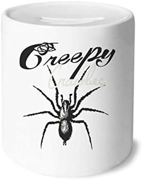 DIYthinker araignée Insectes Cobweb Illustration Motif céramique Tirelire en céramique Motif banques d'épargne-Monnaie  s Adultes 3,5 Pouces de Hauteur, 3,1 Pouces de diamètre Multicolore d87228