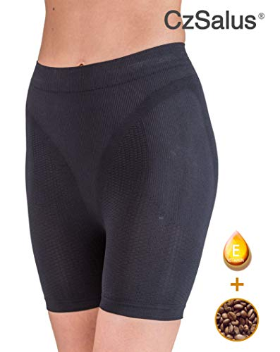 Czsalus pantaloncino corto anticellulite - guaina contenitiva snellente con caffeina+vitamina e nero tg. l