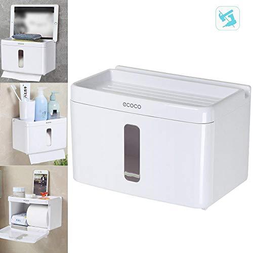 AOLVO Selbstklebende WC-Rolle Halter, Wandhalterung WC-Papier Handtuchhalter, 3in 1Ablage mit Gewebe Spender, Handy/Seife Ablage & Telefon Verstärker (Wandhalterung Wc-gewebe)