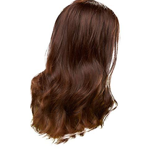 ifuli®Dame stilvolle lange gewellte Perücke lockige braune Cosplay Party Perückelockig Haar Wig ()