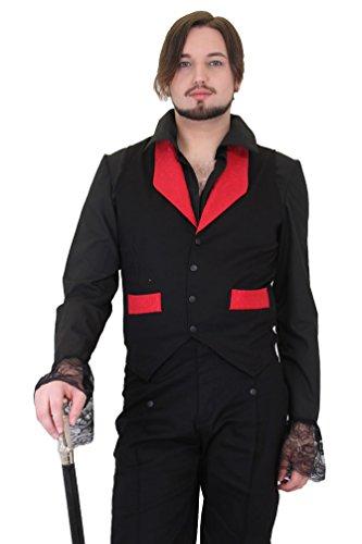 Weste schwarz mit Kragen und falschen Taschen Brokat Rot Gothic Steampunk Gr. XL, Schwarz - Schwarz (Rot Brokat Tasche)
