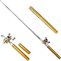 TINGSU - Mini bolígrafo portátil de aleación de aluminio para caña de pescar de 91,44 cm (negro) amarillo