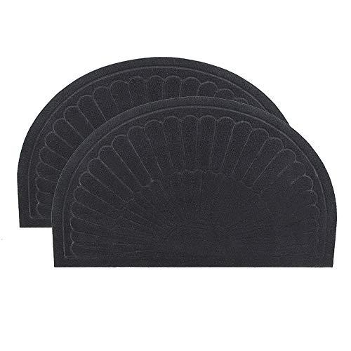 YK Decor halbrunde Fußmatte für den Innen- und Außenbereich, Rutschfeste Matte, Schmutzfangmatte für den Innenbereich, maschinenwaschbar Black-2pcs
