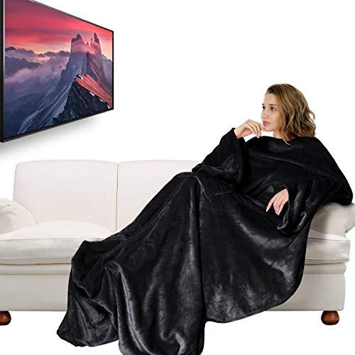 IREGRO TV Decke, Decke mit Ärmeln 180 x 200cm, Verdickte Flanell Kuscheldecke mit Ärmeln und Taschen, Weich Fleecedecke Mikrofaserdecke Sofadecke mit Fußtasche, Schwarz