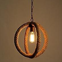 Luz de techo industrial de la cuerda del cáñamo, SUN RUN Lámpara colgante de metal retro de la lámpara de la lámpara de la lámpara de la lámpara de la ...