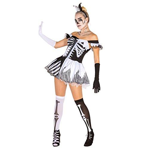 Sexy Skelett Lady Frauenkostüm mit Skelettaufdruck inkl. Armstulpen, Kopfschmuck und Strümpfen (S | Nr. 300117) (White Lady Kostüm Ideen)