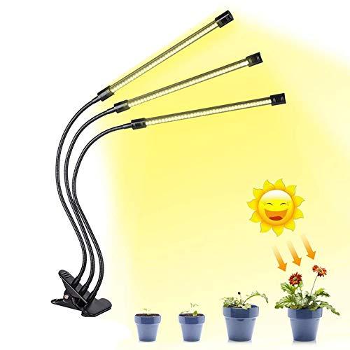 szyzl88 Pflanzenwachstum Lichtwachstum Beleuchtung für Zimmerpflanzen UV Nacht Vollfarbe Hohe Beleuchtung Professionelle Clip Halter Lampe Flexible Timer Lampe(Gelb) - Gezüchtet 12