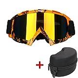 SWAMPLAND Motorradbrillen mit UV-Schutz Anti-Fog Wintersport-Brille Skibrillen Snowboardbrille Radsportbrille Dirtbike Off-Road Schutzbrille,Orange und Schwarz
