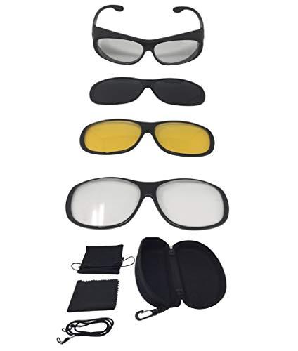 Sonnenüberbrille Nachtsichtüberbrille Vergrößerungsbrille MAGNETIC EDITION 3 Wechselrahmen magnetisch polarisiert UV 400 (Schwarz)